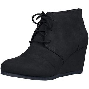 Soda Rex Lace-Up Oxford Ankle Booties Black Wedge